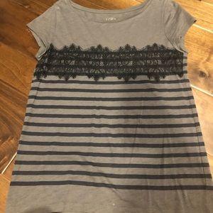 Ann Taylor loft grey & navy striped T-shirt size M